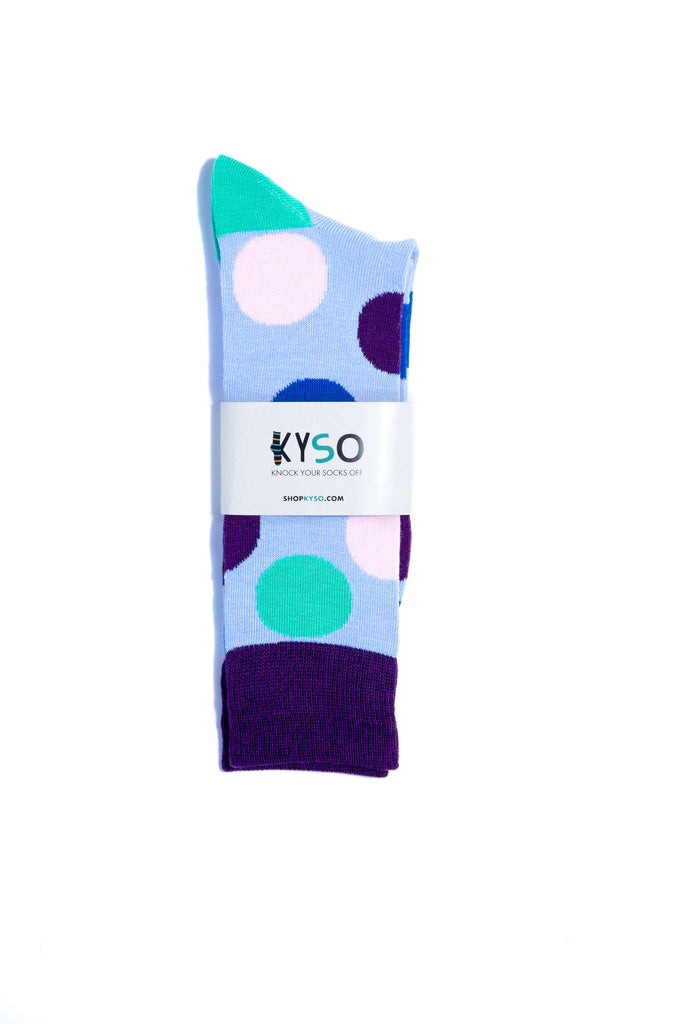 Men s Big Purple Big Dots Bamboo Dress Socks