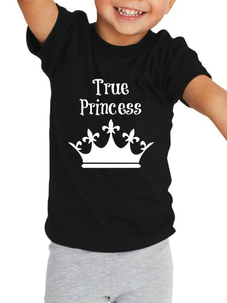 """True Princess"" Toddler T-shirt Black w/White Print"