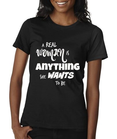 """A Real Woman"" Scoop Neck T-shirt Black w/White Print"