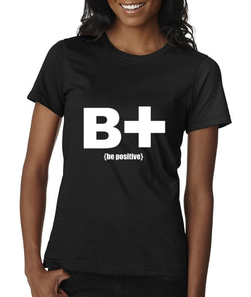 """Be Positive"" Women's Scoop Neck T-shirt Black w/White Print"