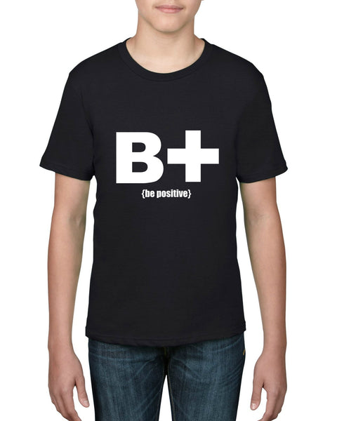 """Be Positive"" Youth T-shirt Black w/White Print"
