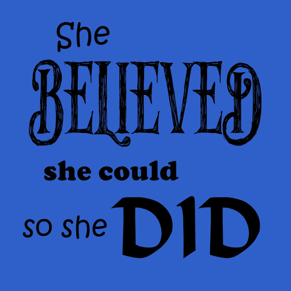 """She Believed"" Youth T-shirt Blue w/Black Print"
