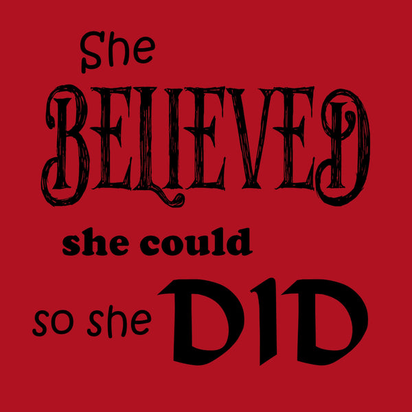 """She Believed"" Youth T-shirt Red w/Black Print"