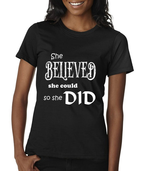 """She Believed"" Women's Scoop Neck T-shirt Black w/White Print"