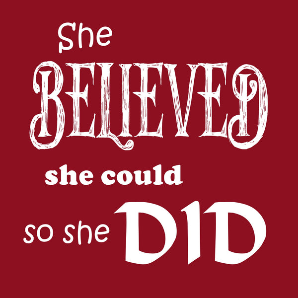 """She Believed"" Women's T-shirt Red w/White Print"