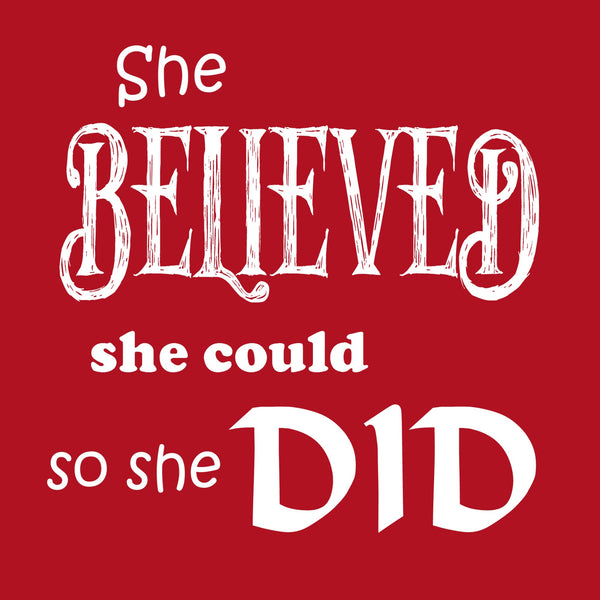 """She Believed"" Youth T-shirt Red w/White Print"
