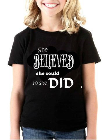 """She Believed"" Youth T-shirt Black w/White Print"
