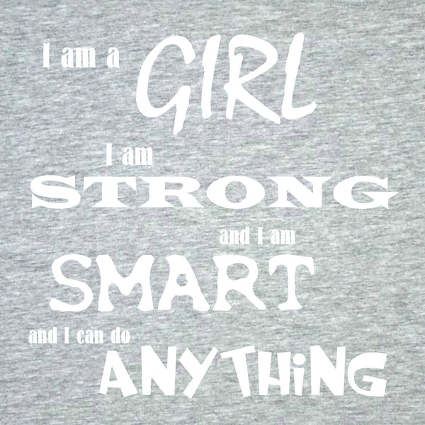 """I Am A Girl"" Youth T-shirt Gray w/White Print"