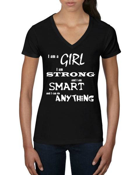 """I Am A Girl"" Women's V-Neck T-shirt Black w/White Print"