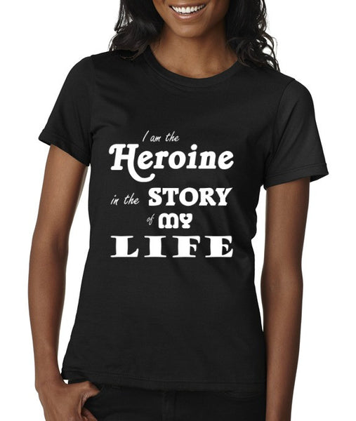"""The Heroine"" Women's Scoop Neck T-shirt Black w/White Print"