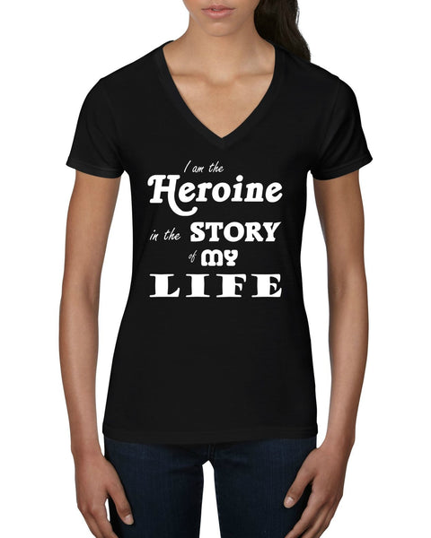 """The Heroine"" Women's V-Neck T-shirt Black w/White Print"