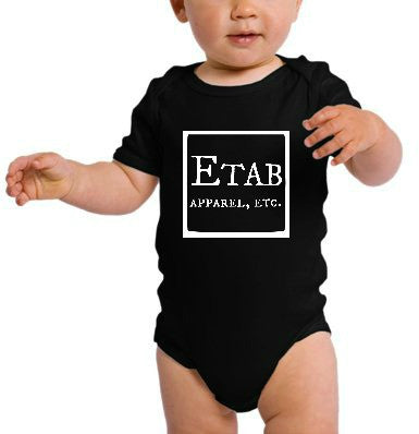 """Etab Logo"" Infant Onesie Black w/White Print"