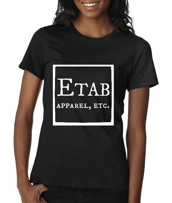 """Etab Logo"" Women's Scoop Neck T-shirt Black w/White Print"