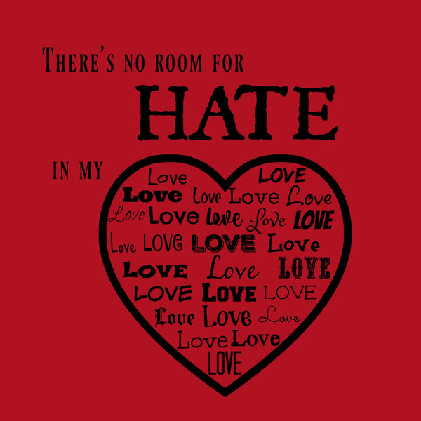 """No Room For Hate"" Youth T-shirt Red w/Black Print"