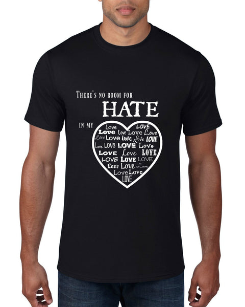 """No Room For Hate"" Men's T-shirt Black w/White Print"