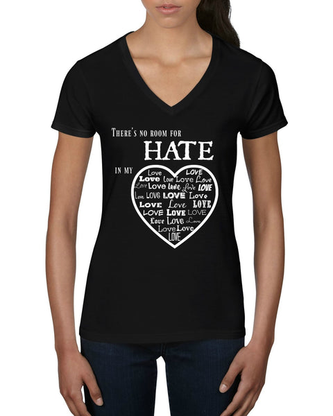 """No Room For Hate"" Women's V-Neck T-shirt Black w/White Print"