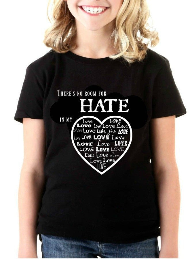 """No Room For Hate"" Youth T-shirt Black w/White Print"