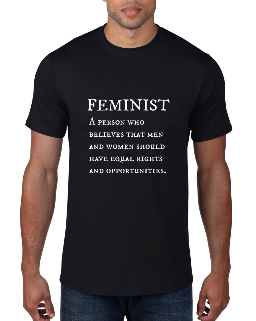 """Feminist"" Men's T-shirt Black w/White Print"