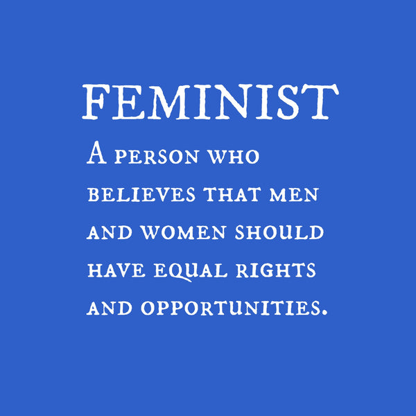 """Feminist"" Youth T-shirt Blue w/White Print"