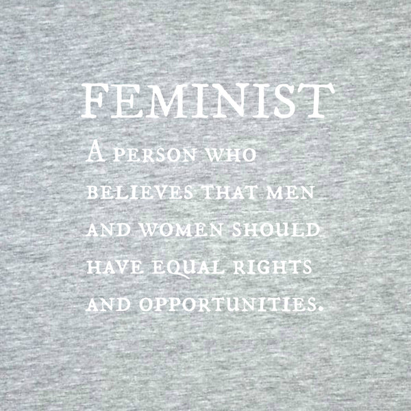 """Feminist"" Men's T-shirt Gray w/White Print"