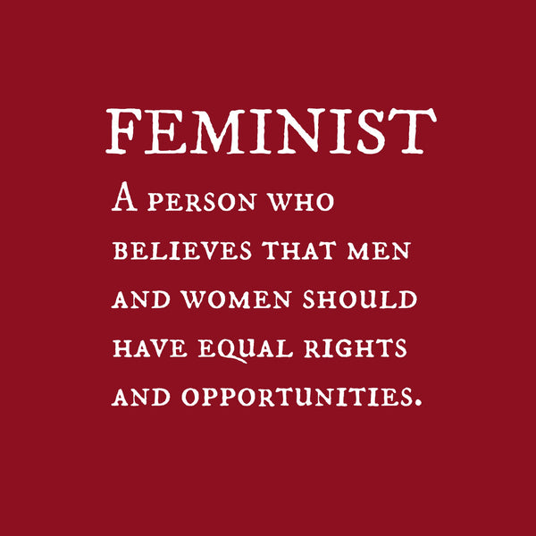 """Feminist"" Men's T-shirt Red w/White Print"