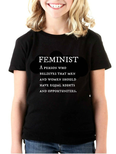 """Feminist"" Youth T-shirt Black w/White Print"