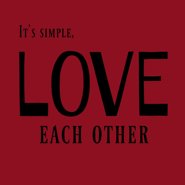"""Love Each Other"" Women's T-shirt Red w/Black Print"