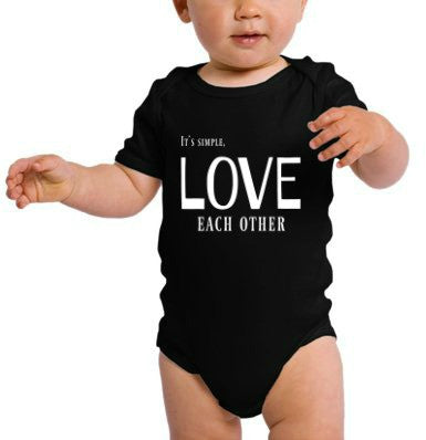"""Love Each Other"" Infant Onesie Black w/White Print"
