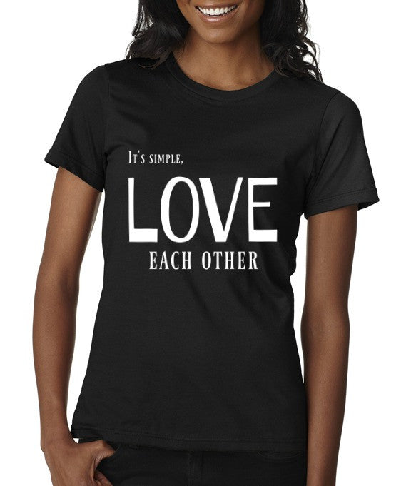 """Love Each Other"" Women's Scoop Neck T-shirt Black w/White Print"