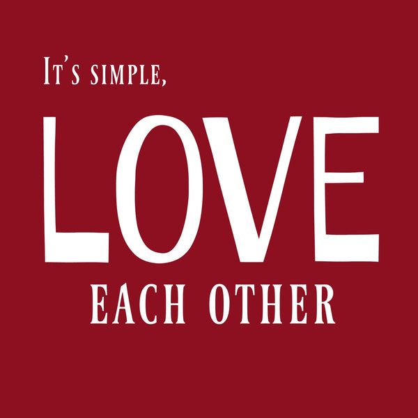"""Love Each Other"" Women's T-shirt Red w/White Print"