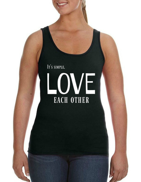 """Love Each Other"" Women's Tank Black w/White Print"