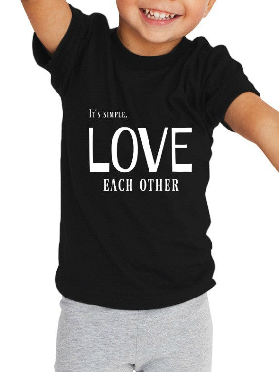"""Love Each Other"" Toddler T-shirt Black w/White Print"