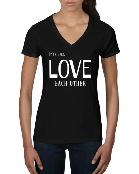 """Love Each Other"" Women's V-Neck T-shirt Black w/White Print"