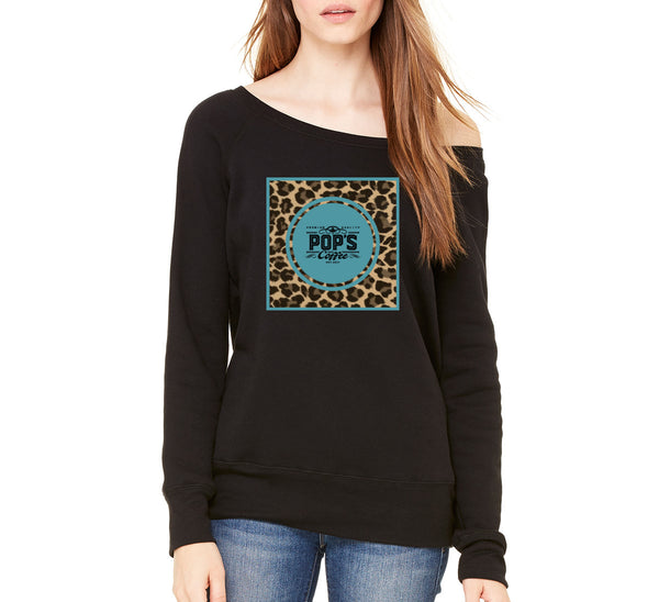 "Pop's Coffee ""Leopard Logo"" Women's Wide Neck Sweatshirt"