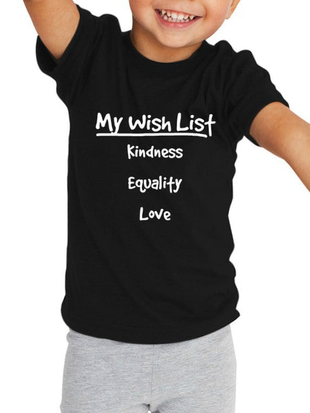"""My Wish List"" Toddler T-shirt Black"
