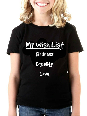 """My Wish List"" Youth T-shirt Black"