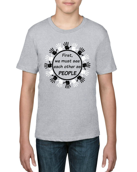 """People First"" Youth T-shirt Gray"