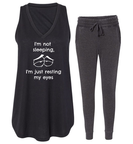 "Rockabye ""Resting My Eyes"" Women's Tank Sleep Set"