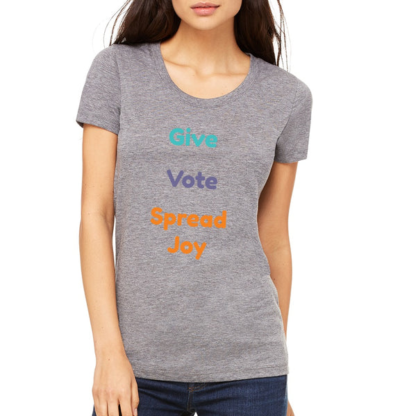 "Joyride Society Women's ""Give, Vote, Spread Joy"" T-shirt"