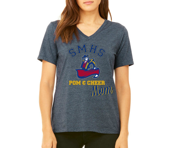 "SMHS Pom & Cheer Women's ""Mom"" V-Neck T-shirt"