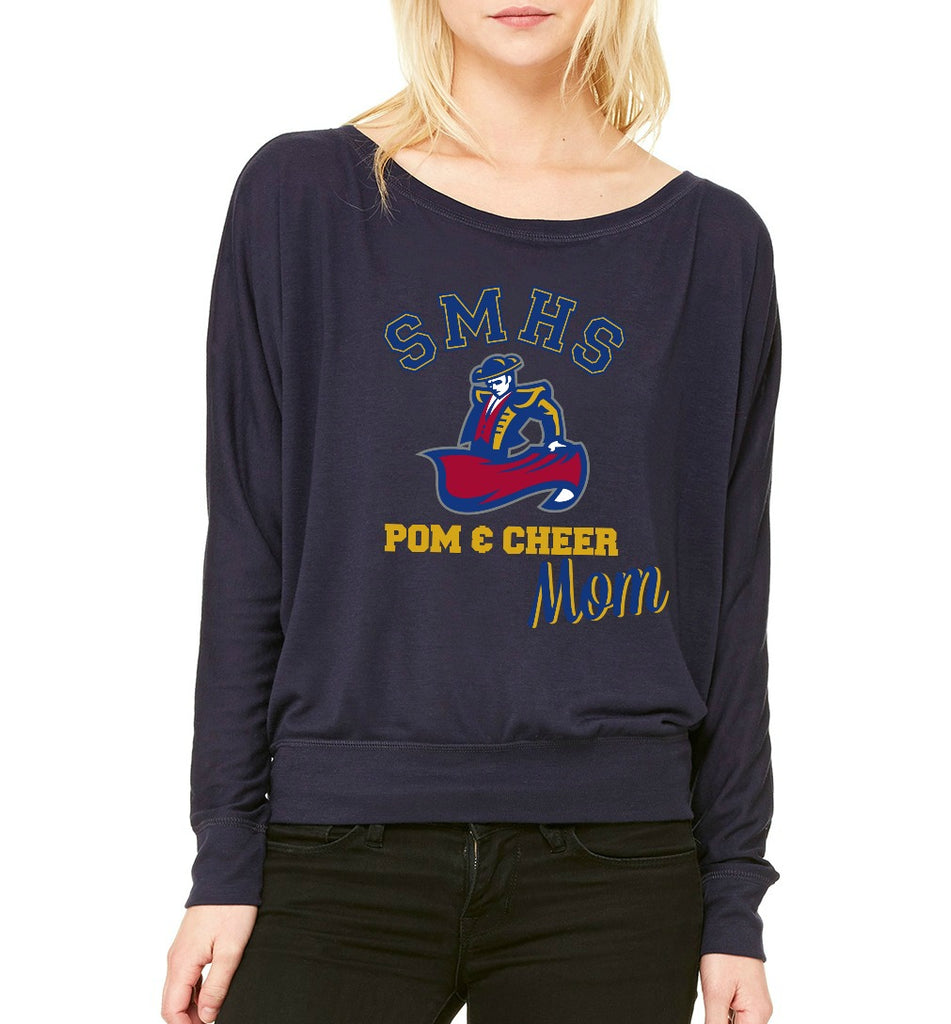 "SMHS Pom & Cheer Women's ""Mom"" Long Sleeve Wide Neck T-shirt"