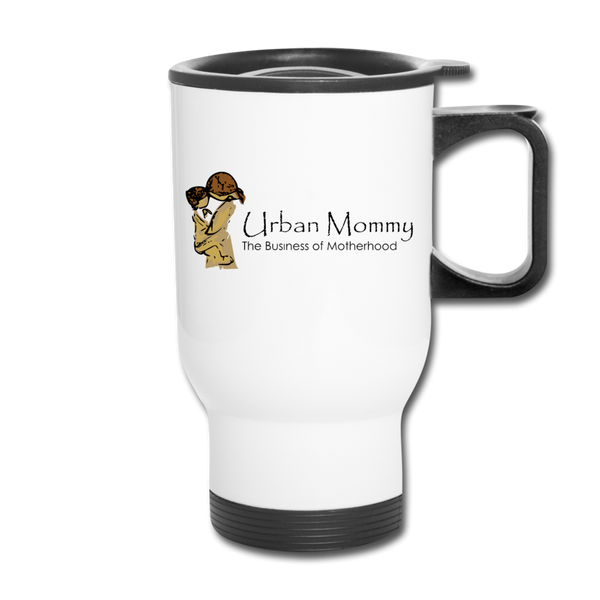 "Urban Mommy ""Logo"" Travel Mug - white"