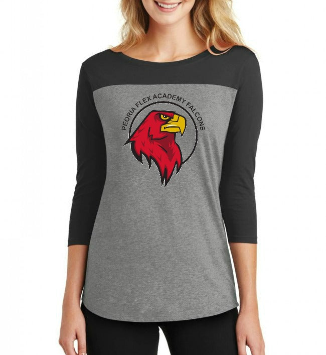 "Peoria Flex Academy Junior's ""Logo"" Rally 3/4 Sleeve T-shirt"