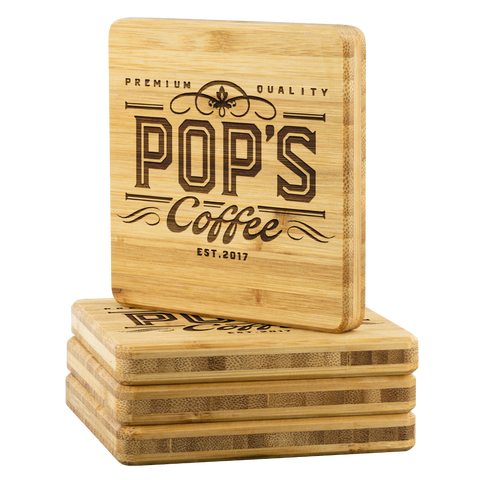 "Pop's Coffee ""Logo"" Bamboo Coaster Set"