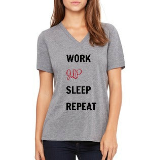 "JLP **LAST CHANCE** Women's ""Work, JLP, Sleep, Repeat"" T-shirt (V-neck)"