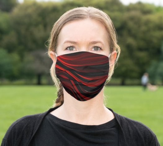 "Cloth Face Mask ""Red Waves"""