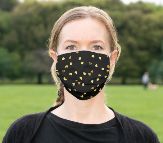 "Cloth Face Mask ""Gold Hearts"""