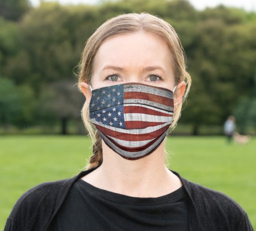 "Cloth Face Mask ""Rustic Flag"""