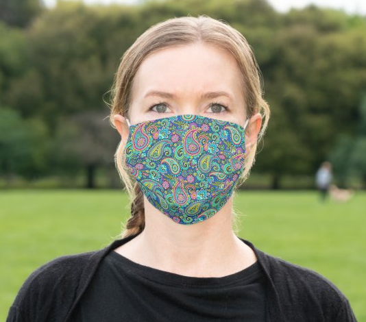 "Cloth Face Mask ""Blue Paisley"""