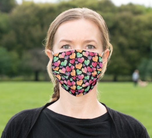 "Cloth Face Mask ""Colorful Hearts"""